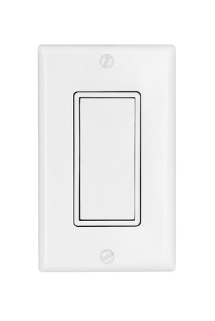 power switch: A modern electrical light switch isolated on white