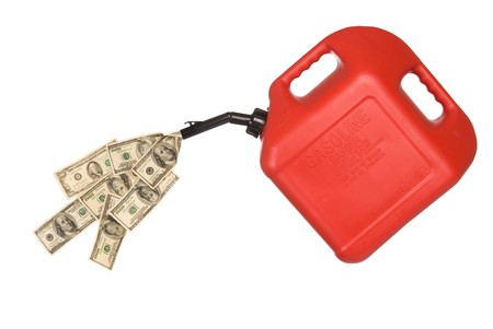 gas can: Gas can pouring out hundreds of dollars to mirror the high costs of gasoline.