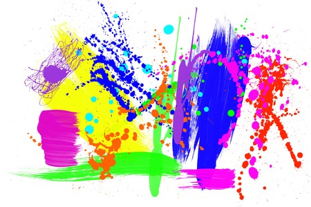 inference: An abstract montage of various paint patterns including brush strokes, drips and spatters.  Very colorful image for use with any color intense inference. Stock Photo