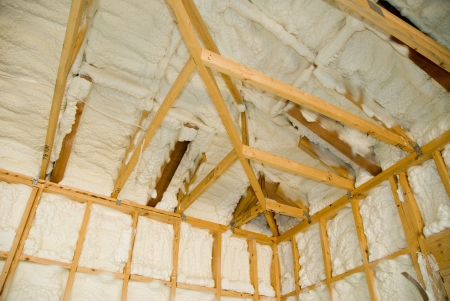 joist: A room at a newly constructed home is sprayed with liquid insulating foam before the drywall is added.  Ideal for new home construction advertising and other home construction promotional inferences.