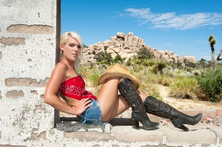 A beautiful country girl n an old brick building window sill. Stock Photo - 7627565