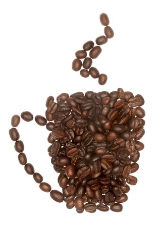 mug shot: A conceptual image if a coffee cup with steam made up of coffee beans. Stock Photo