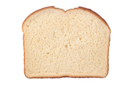 A single slice of white bread isolated on white.