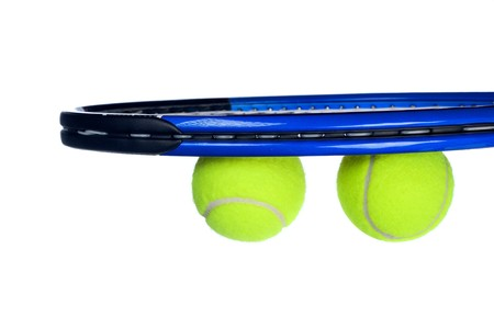 Tennis equipment including a racket and balls isolated on white Stock Photo - 8024518
