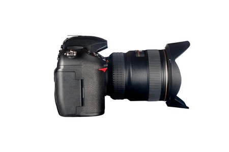 slr: Side view of a DSLR camera and lens isolated on white.