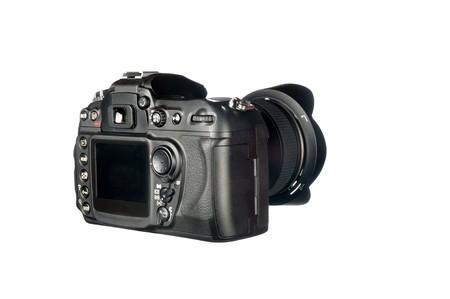 デジタル一眼レフ カメラとレンズを白で隔離されるのビューを確認します。 写真素材