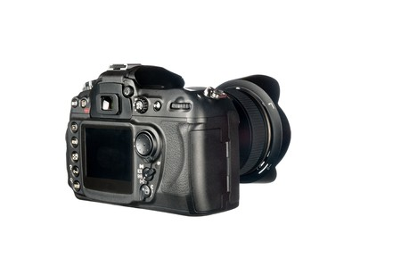 dslr camera: Review view of a DSLR camera and lens isolated on white. Stock Photo