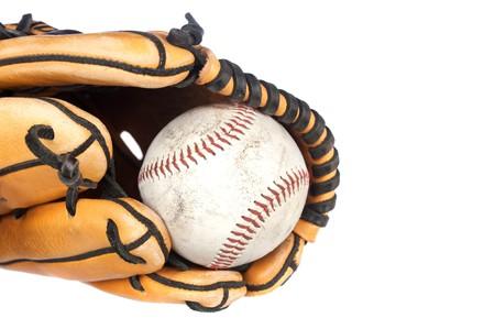 A baseball and baseball glove sports theme on a white background. Stock Photo - 8024528