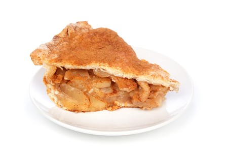 A scrumptious slice of apple pie on a white background