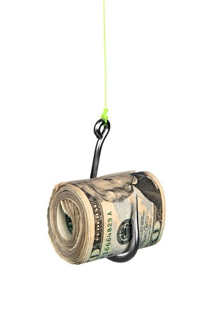 A roll of cash on a fishook isolated on a white background. Stock Photo - 8193844