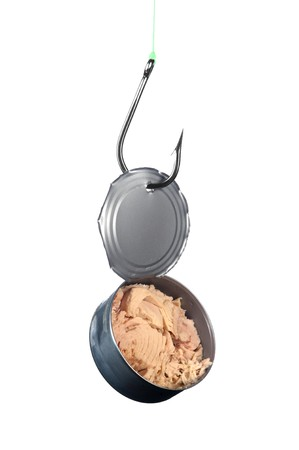 A stainless steel fishing hook snagged an open can of tuna. Stock Photo - 8193840