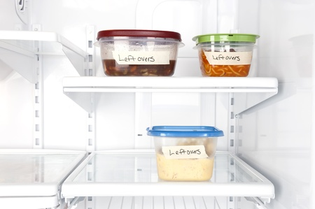 inferences: Leftover containers of food in a refrigerator for use with many food inferences.