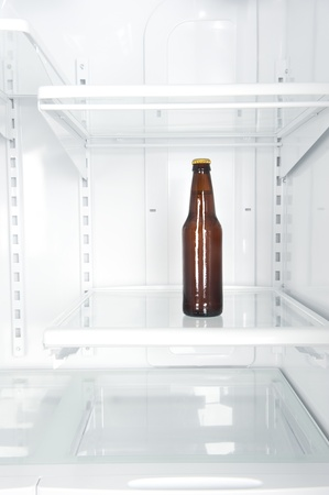 A single bottle of beer in an big, empty domestic refrigerator. photo