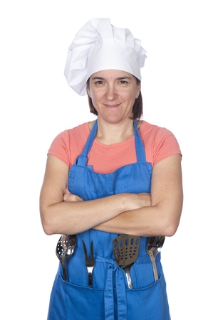 A woman is dressed in cooking clothing and isolated on white Stock Photo - 8622440