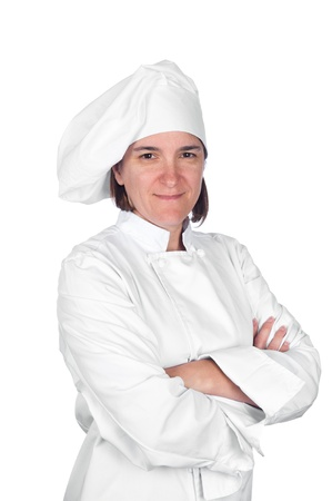 A woman chef in chef whites against a white background. Stock Photo - 8622405