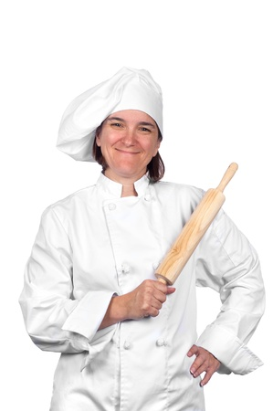 A female chef in her chef's whites isolated on white. Stock Photo - 8622432
