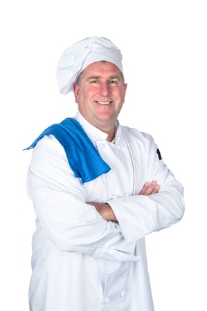 professional chef: A chef posing with his arms crossed isolated on white.