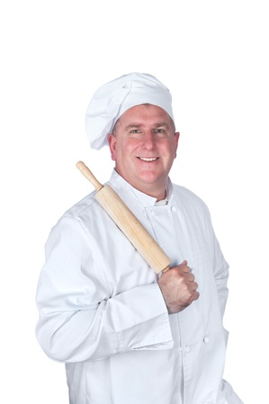A chef posing with a rolling pin, isolated on white. Stock Photo - 8622402