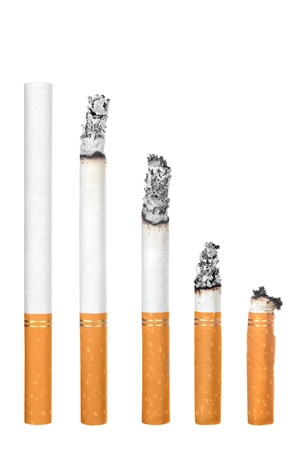 lit image: A montage of cigarettes during different stages of burn.  Each is isolated on white.