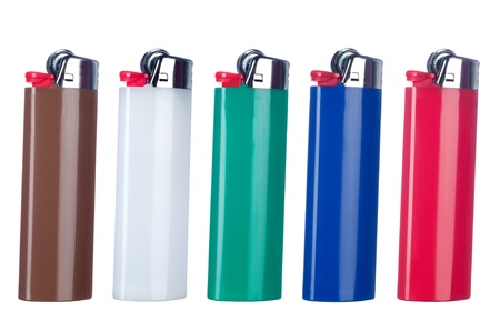A mopntage of five new butane lighters each isolated against a white background.