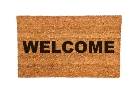 Een nieuwe Welkom deurmat geïsoleerd op een witte achtergrond.