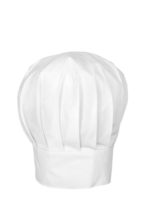 A checs hat isolated on white.  Chefs wear the hat as a symbol of status and for cleanliness and sanitary reasons.