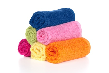 rags: A set of colorful wash towels on a white background.