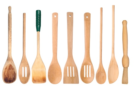 utensils: A collection of wooden kitchen utensils isolated on white Stock Photo