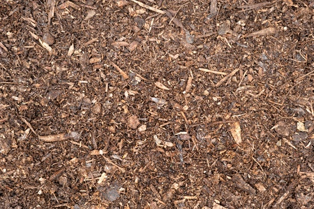 A top down image of freshly spread peat moss topsoil.