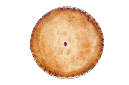 A freshly baked cherry pie on white.  Designers can clone out the center opening and use the image for any kind of crust covered pie. photo