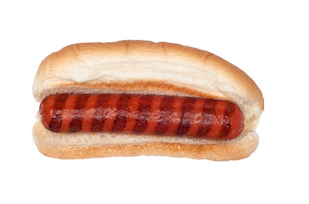 A plain grilled hotdog isolated on white Stock Photo