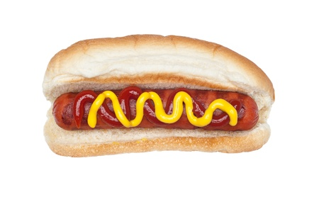 A freshly grilled hotdog on a bun with a stream of mustard and ketchup isolated on white. Stock Photo - 9780273