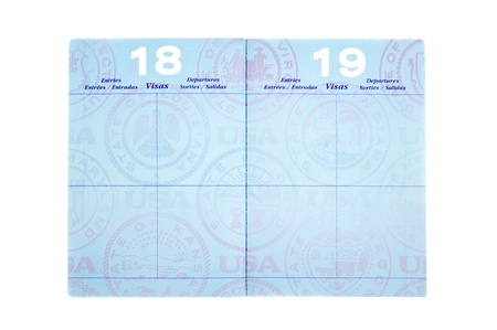 watermarks: Blank visa pages in a passport with room for copy.