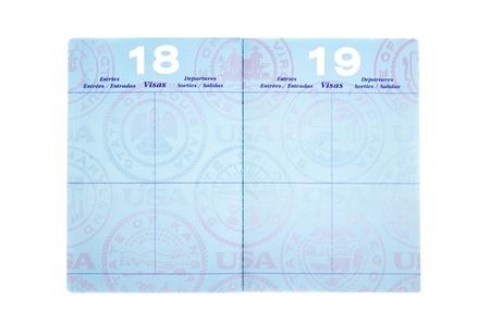 pasaportes: P�ginas en blanco de visa en un pasaporte con espacio para copia.