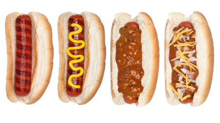A selection of four hotdogs isolated on white including a plain, chile, and mustard covered hotdog. photo