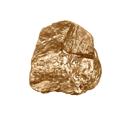 raw materials: A gold nugget isolated on a white background