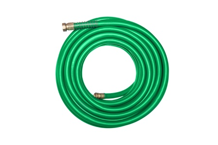 coiled: A new green coiled rubber hose isolated on white. Stock Photo