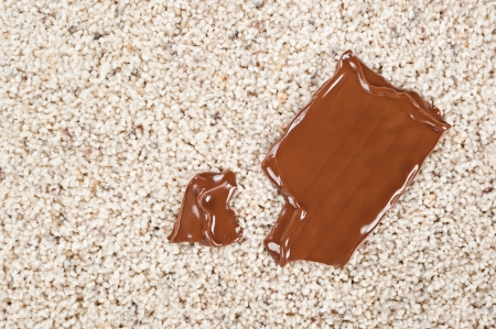 carpet and flooring: A melting chocolate candy bar dropped on a newly carpeted floor.