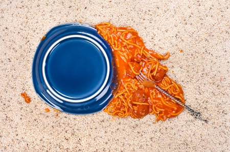 carpet and flooring: A dropped plate of spagetti on new carpeting. Stock Photo