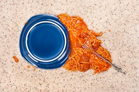 dropped: Un plato de espagueti cay� sobre la alfombra nueva. Foto de archivo
