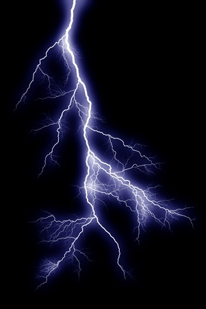 Lightning bolts at night show the power and beauty of an electrical arc. Banco de Imagens