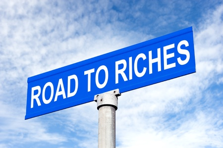inference: A Street sign with road to success for use in any success inference Stock Photo