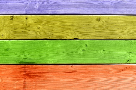 slats: A colorful wooden slat deck of purple, yellow, green and orange. Stock Photo