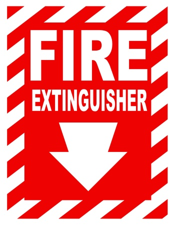 inference: A fire extinguisher location sign for use in any safety inference.