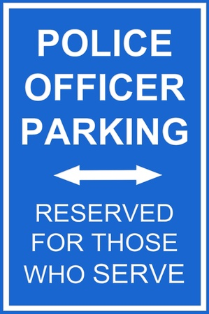 inference: A parking reserved sign for police for any parking communication inference