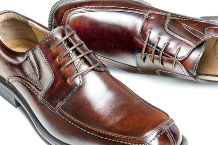 men's: Close up of a new pair of brown leather dress shoes Stock Photo