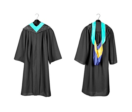 uniform attire: A front and rear view of a graduation gown with purple and blue hood indicating graduation with distinction and honors