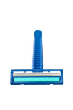 Een nieuwe disposable scheermes scheren blad met blauwe smeermiddel strip Stockfoto