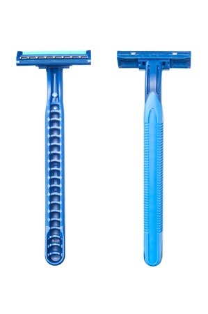 New disposable razor blad shows the front and back of a blue handle shaving accessory. Stock Photo - 12460972