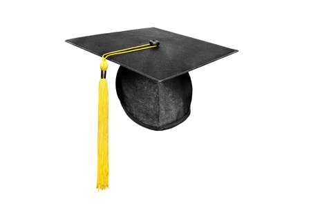 新しいモルタル板卒業キャップ白で隔離される黄色タッセル付き。 写真素材